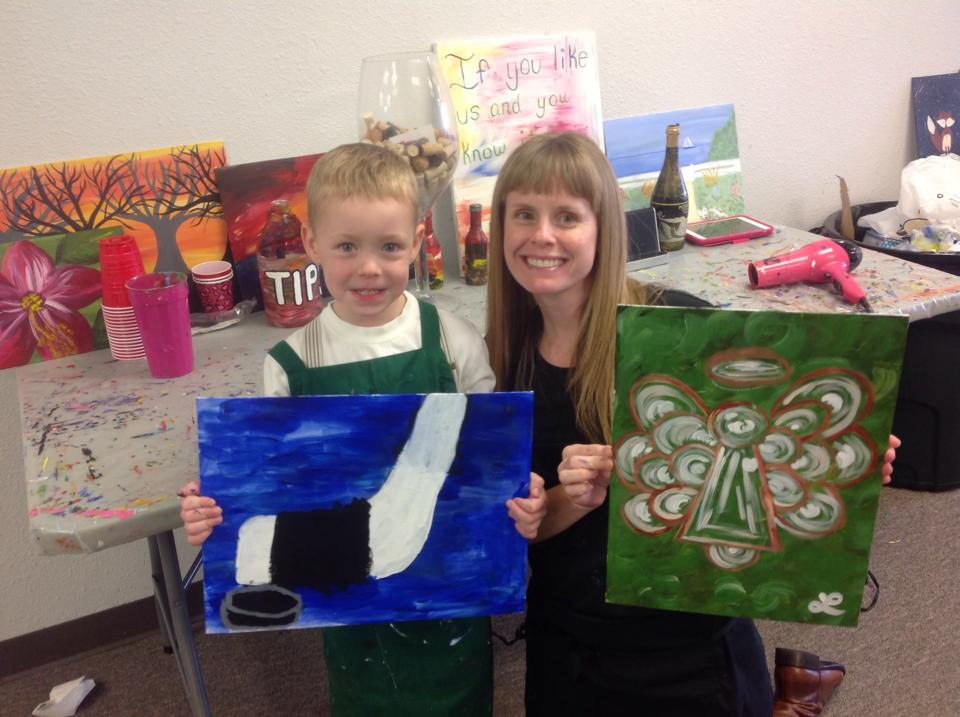 Parents Are Welcome To Paint With Their children at our Kids Painting Classes