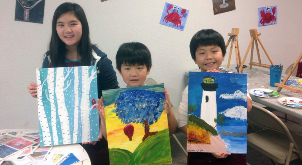 kids and family painting classes care free colors